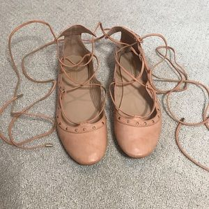 Topshop lace up flats in dusty rose leather
